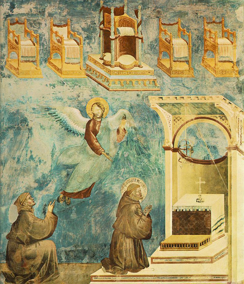 Джотто. Из цикла фресок о Франциске Ассизском. Видение престола
