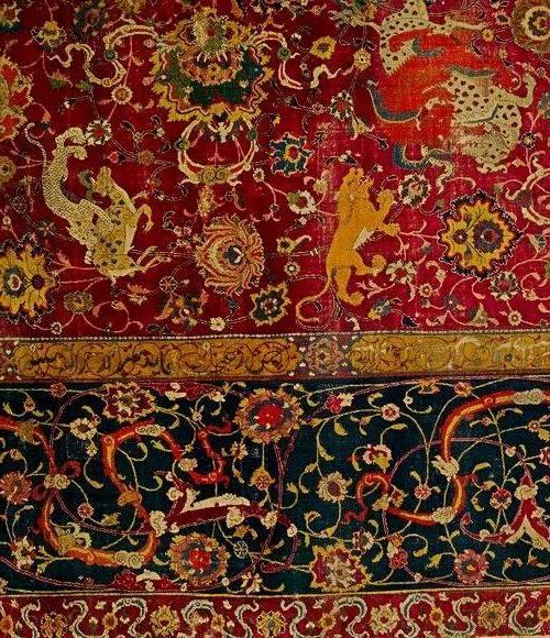 """Фрагмент старинного персидского  ворсовго ковра в """"зверином"""" стиле"""