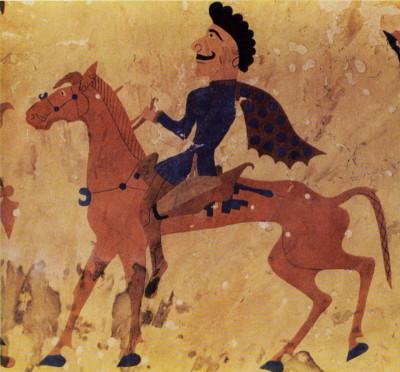Фрагмент войлочного ковра с всадником и богиней