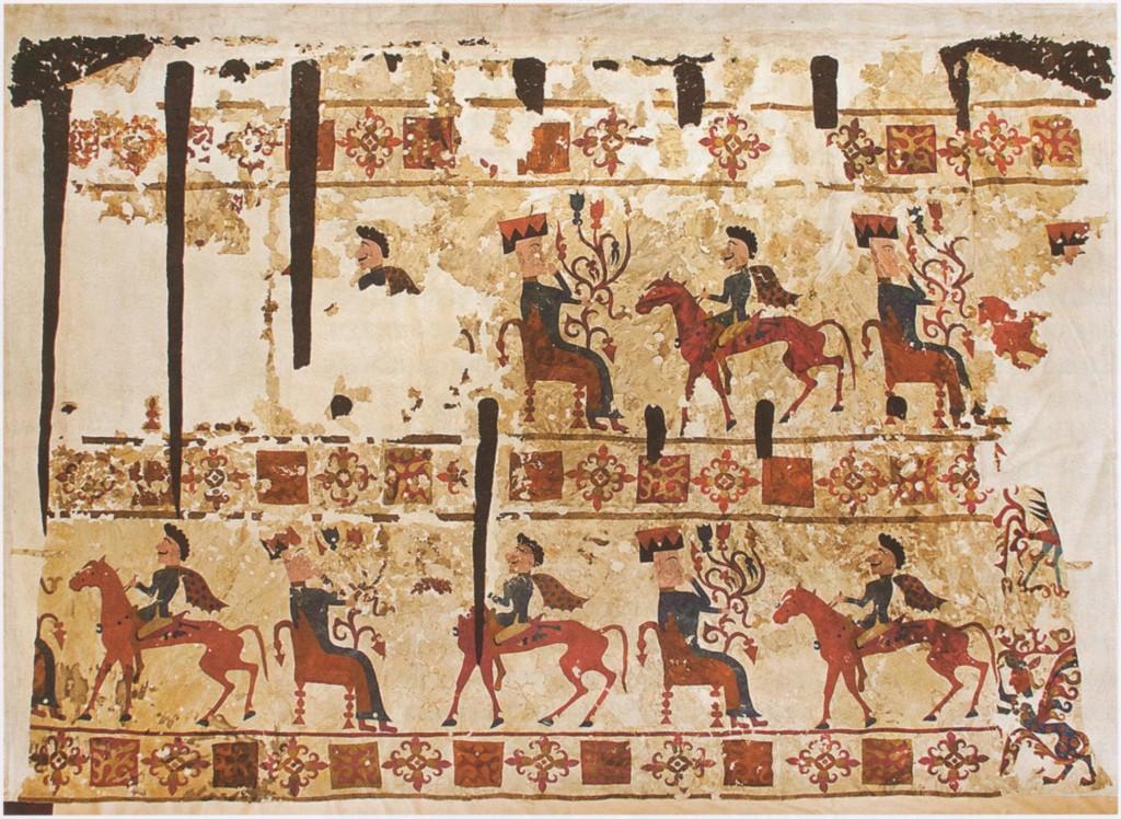 Войлочный ковер из пятого Пазырыкского кургана, общий вид. Место хранения: Гос. Эрмитаж