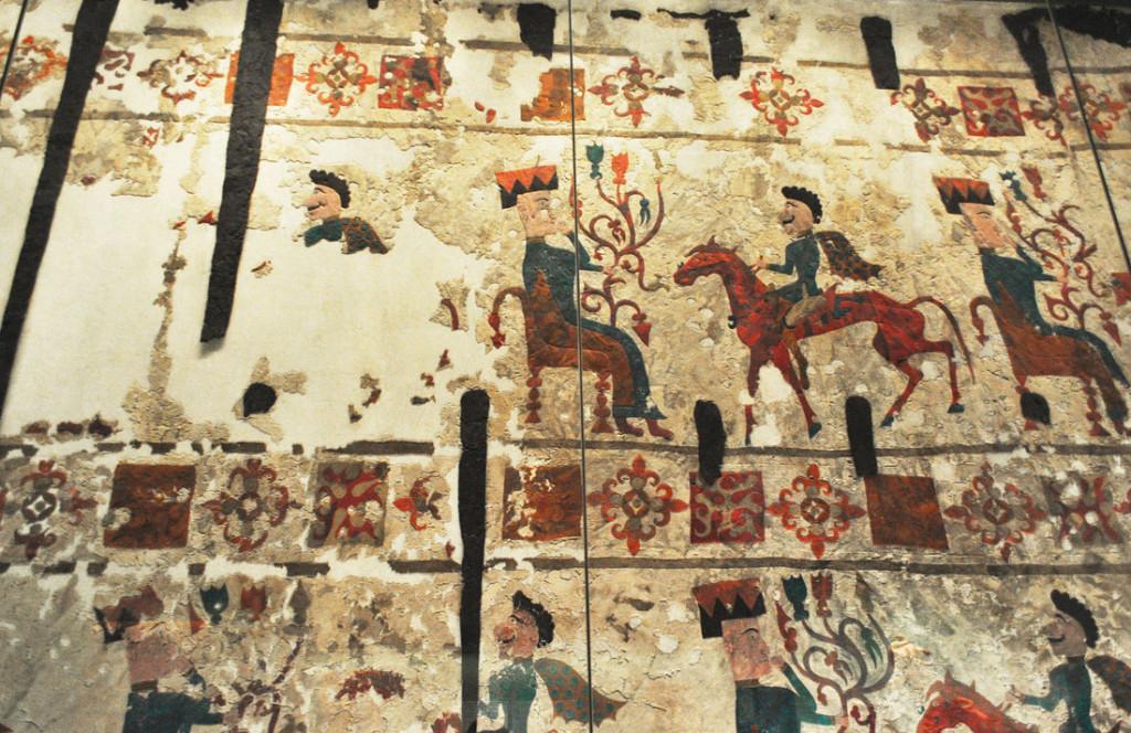 Пазырыкский войлочный ковер с сюжетом предстояния вождя перед Богиней с  Древом Жизни