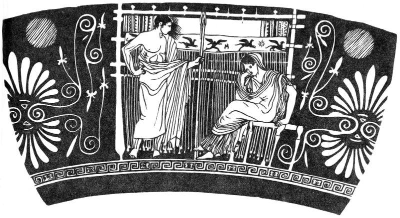 Изображение вертикального коврового станка на древнегреческой вазе. Сюжет из истории о Пенелопе