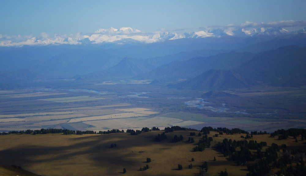Панорама Уймонской долины и вершины Белухи