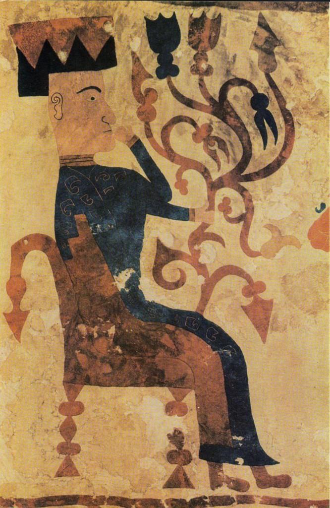 Богиня на троне с ветвью Древа Жизни. Фрагмент войлочного ковра из Пазырыксого кургана