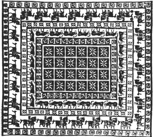 Схематичное изображение Пазырыкского ковра