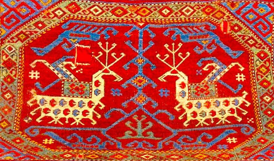Древний мотив предстояния животных перед Матерью - Древом Жизни в ковровом исполнении